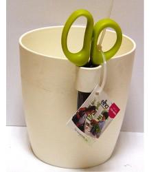 Květináč na bylinky s nůžkami - barva bílá - 1,25 l